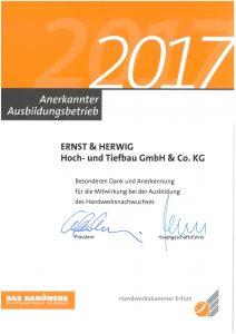 Ernst und Herwig Ausb.betrieb 2017 HWK Erfurt